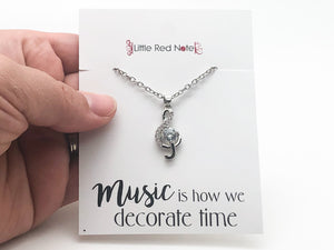 Treble Clef Large Crystal Necklace