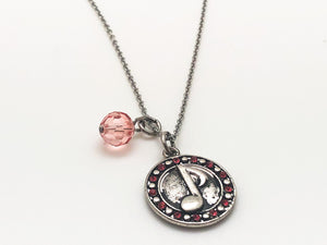 Eighth Note Pink CZ Charm Necklace