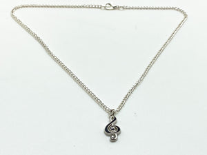 Treble Clef Black Silver Necklace