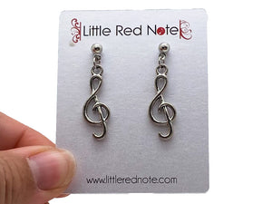 Dangle Post Treble Clef Earrings