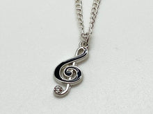 Load image into Gallery viewer, Treble Clef Black Silver Necklace