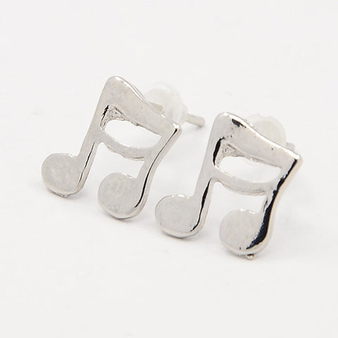 Silver Sixteenth Notes Post Earrings