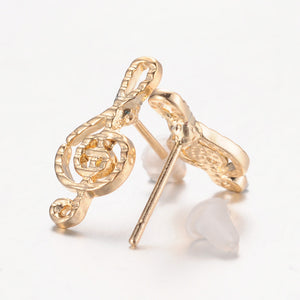 Stud Earrings Treble Clef Lined Gold