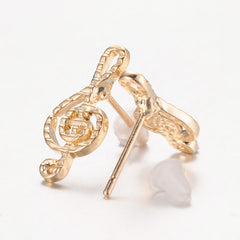 Gold Treble Clef Post Earrings
