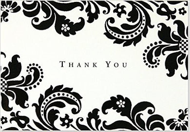 Thank You Note Card Damask - Box of 14