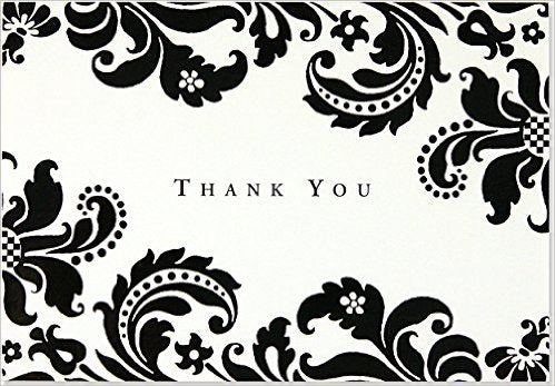 Thank You Note Card Damask - Single Card