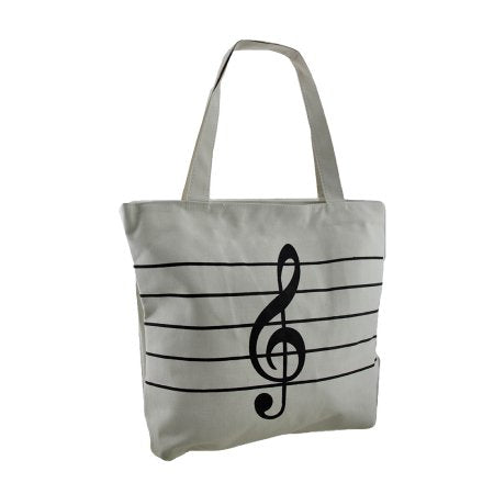 Treble Clef Music Tote Bag WHITE