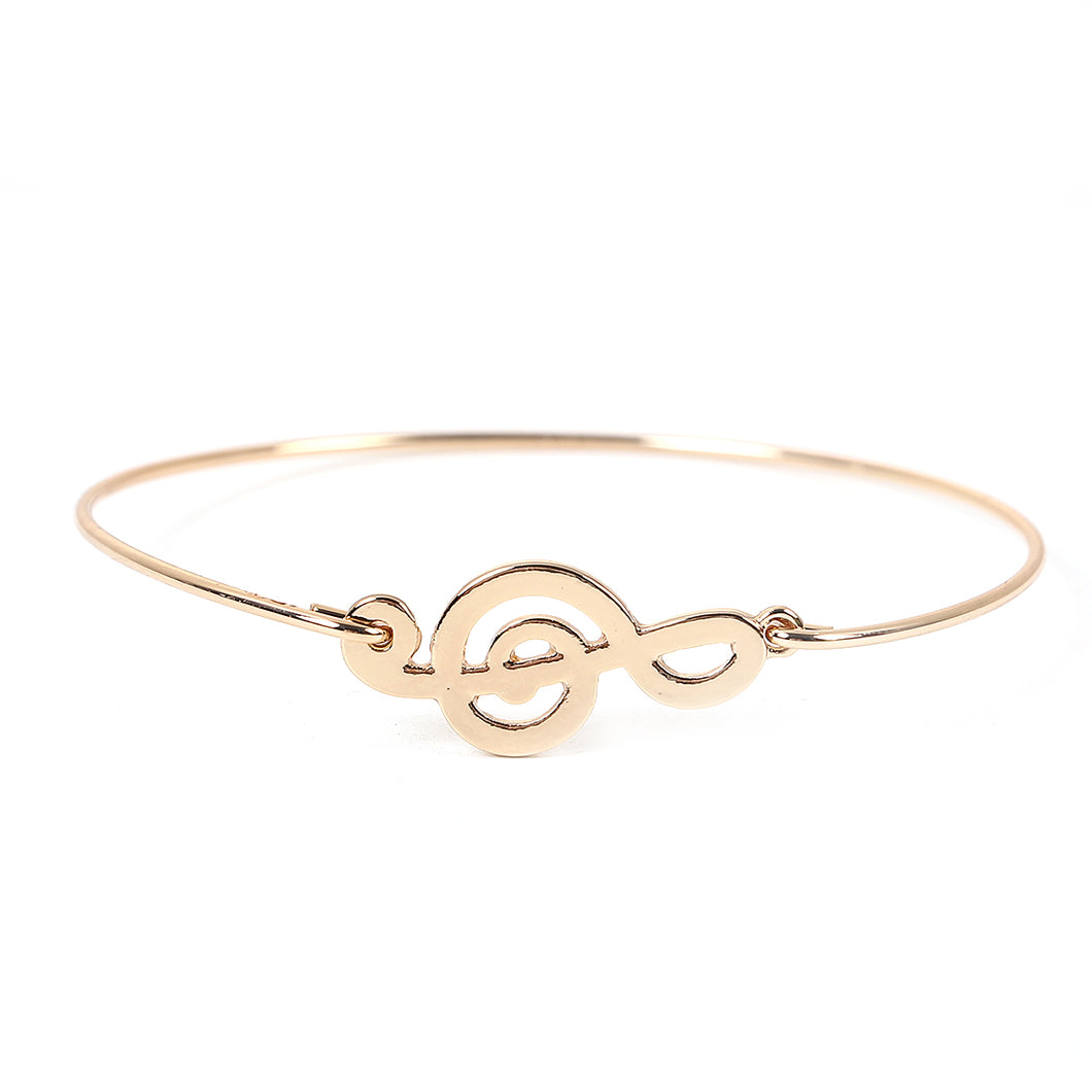 Treble Clef Bangle Bracelet Gold