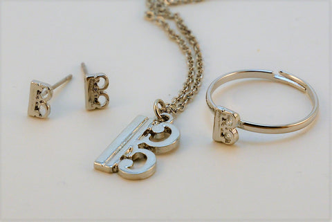 Alto Clef Viola Silver Ring Necklace Earring Set