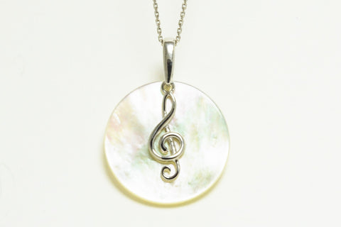 925 Sterling Silver Mother of Pearl Treble Clef Necklace