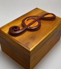 Intarsia Wood Box - Treble Clef