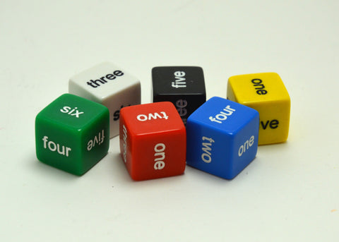 Six-Sided Standard Dice - Number Words - d6
