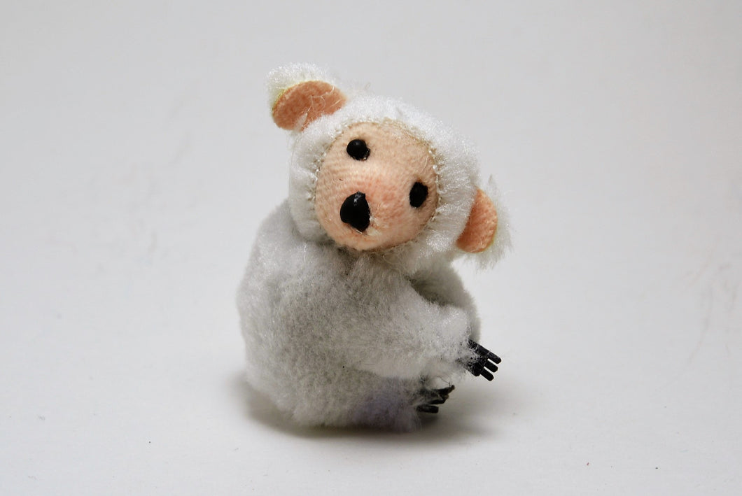 Small White Bear Critter Clip Pink Face