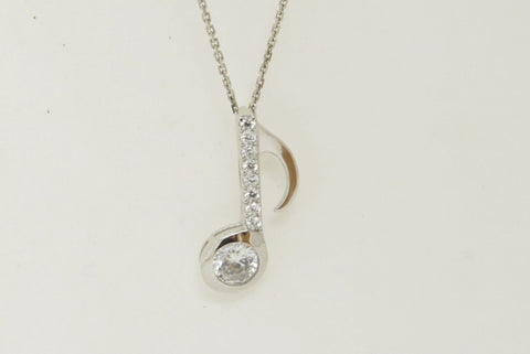 925 Sterling Silver Zirconia Eighth Note Necklace