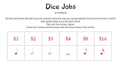 Dice Jobs - Red or Dark Green Dice Game