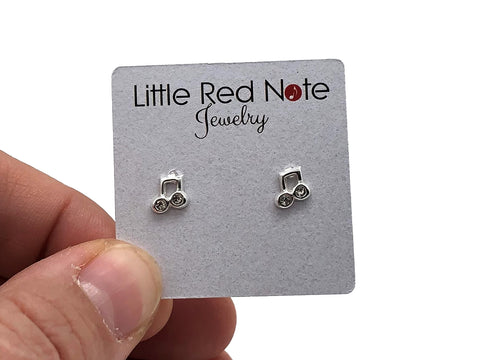 925 Sterling Silver Mini Eighth Note Beamed Zirconia Earrings