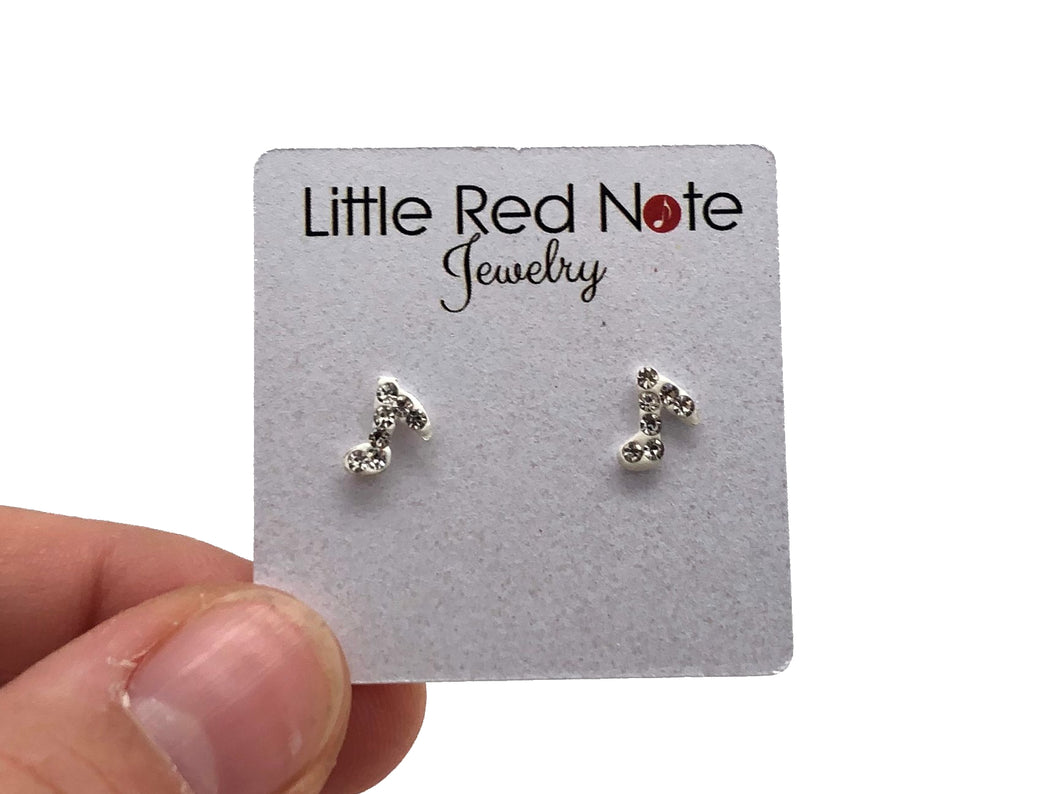 925 Sterling Silver Mini Eighth Note Zirconia Earrings