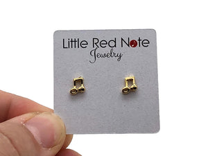 925 Sterling Silver Mini Eighth Note Beamed Earrings - Gold