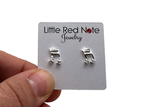 925 Sterling Silver Mini Sixteenth Notes Beamed Zirconia Earrings