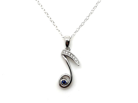 925 Sterling Silver Eighth Note Blue Jewel Necklace