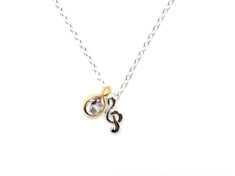 925 Sterling Silver Mini Treble Clef and Jewel Necklace