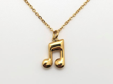 Eighth Note Beamed Necklace - Gold