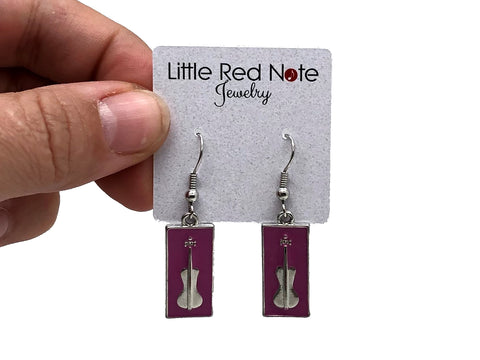 Violin Lavender Dangle Earrings