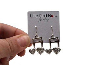 Sixteenth Notes Rhinestone Heart Earrings