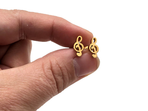 Stainless Steel Post Earrings Treble Clef - Gold