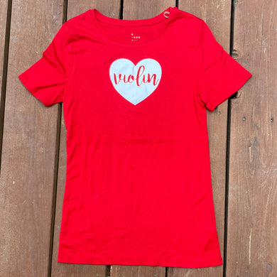 Women's Small - Violin Heart - Red