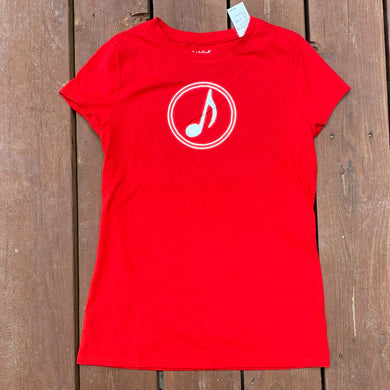 Girls XL (14/16) - Eighth Note Circle - Red