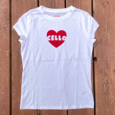 Girls M (7/8) - Cello Heart - White