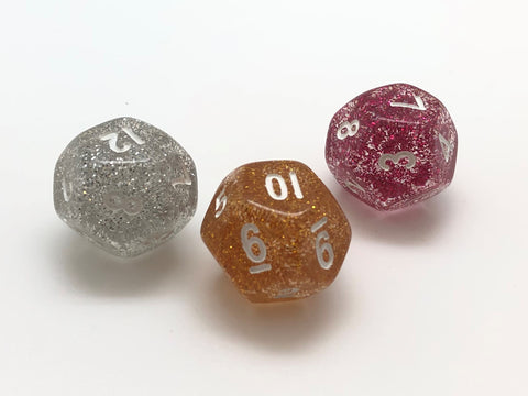 Standard 12-sided (D12) 16mm Dice - Glitter