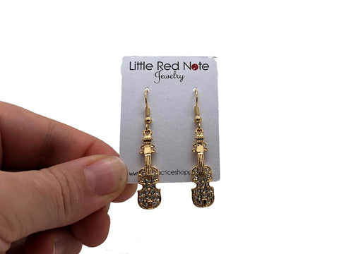 Violin Rhinestone Earrings - Gold