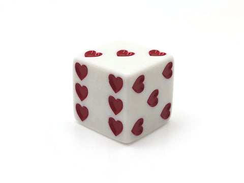 Six-Sided 25mm Dice - Hearts - d6 (White)