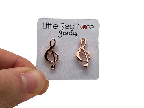 Post Earrings Treble Clef - Rose Gold