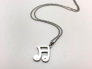 Sixteenth Notes Beamed Stainless Steel Necklace