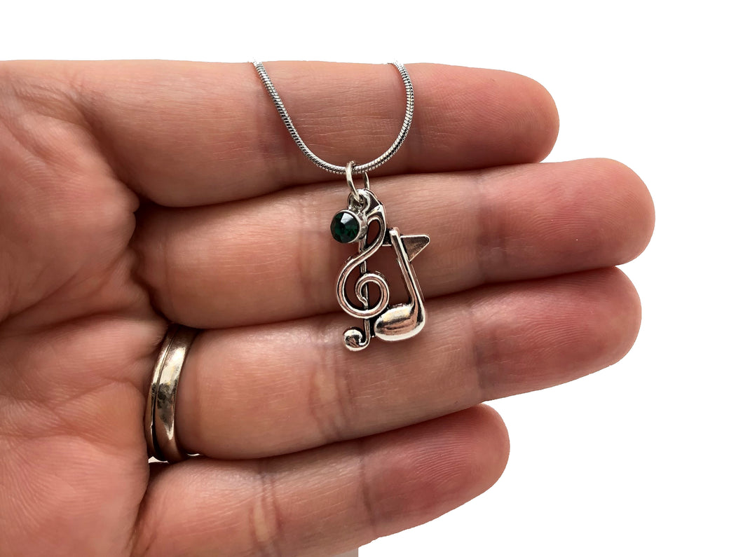 Treble Clef Eighth Note Green Stone Necklace
