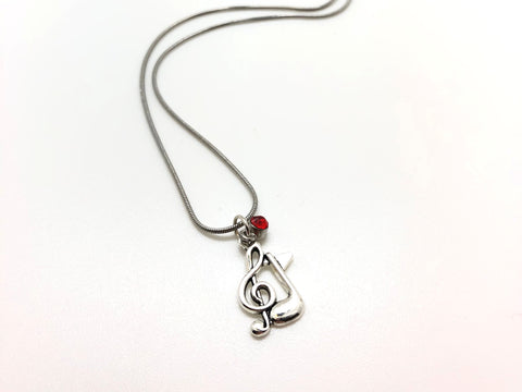 Treble Clef Eighth Note Ruby Necklace