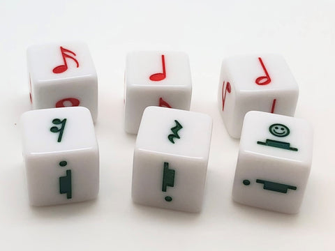 16 mm Red Notes and Green Rests Dice - set of 6