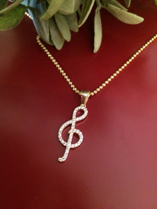 925 Sterling Silver Gold Plated Zirconia Treble Clef Necklace