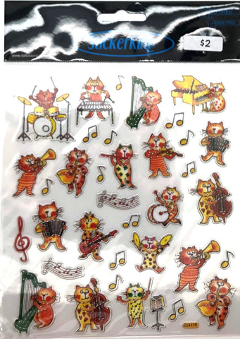 Cats and Instruments Shiny Stickers