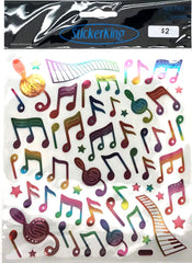 Music Notes Rainbow Shiny Stickers