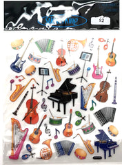 Instruments Silver Shiny Stickers