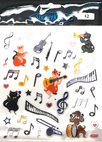 Music Notes and Instruments Shiny Stickers