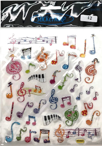 Music Notes Multicolor Shiny Stickers