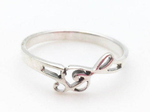 925 Sterling Silver Slanted Treble Clef Ring