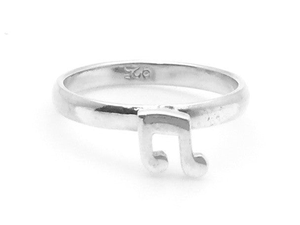 925 Sterling Silver Small Eighth Note Ring