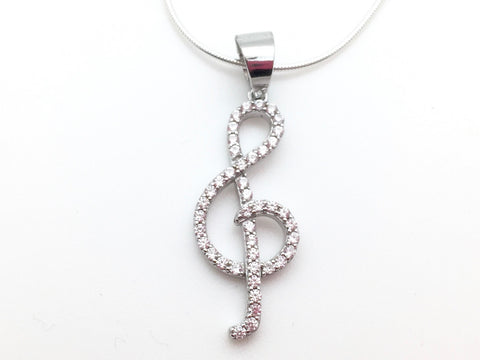 925 Sterling Silver Treble Clef Zirconia Necklace