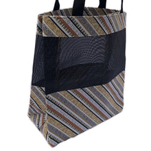 Load image into Gallery viewer, Music Tote Bag - Music and Piano Stripes